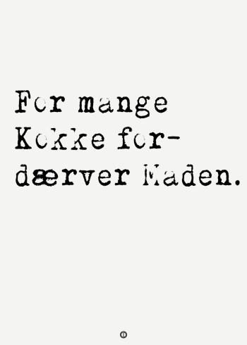 ordsprog plakat med ordsproget: For mange kokke fordærver maden