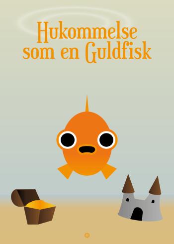 Ordsprog / talemåde børneplakat med en sød gris og talemåden: hukommelse som en guldfisk