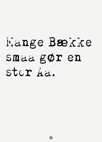 ordsprog plakat med ordsproget: Mange bække små, gør en stor å