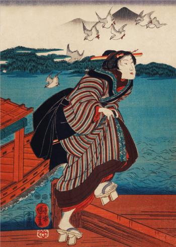 japansk kvinde med gammeldags sko