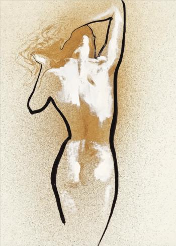 kunstplakater af kvindekrop i sandfarver