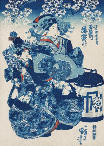 japanske kvinder og blå mønster
