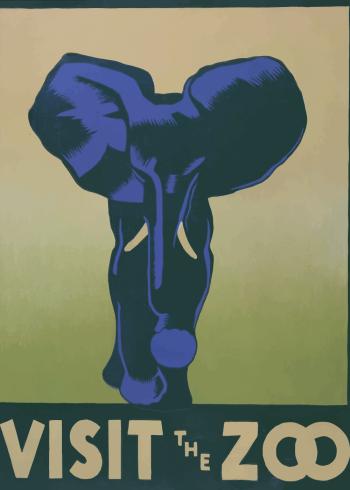 zoo plakater med blå elefant