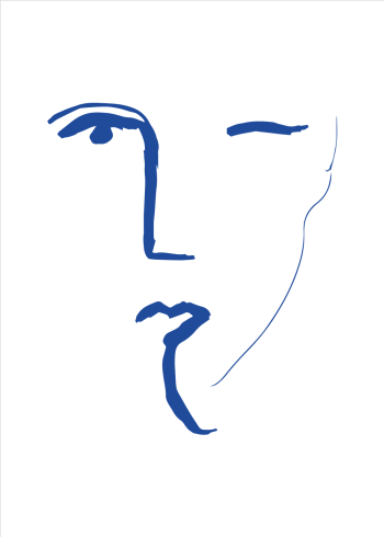 kunstplakater med ansigt i blå streger