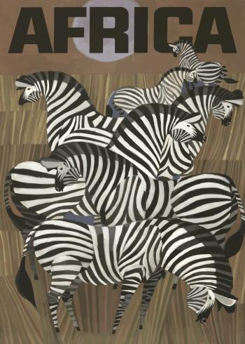 zoo plakater med zebraer i afrika