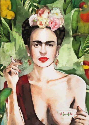 eksotisk plakat af frida kahlo