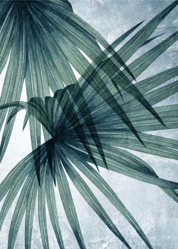 kunst plakater af palmeblade i bløde grønne og blå farver