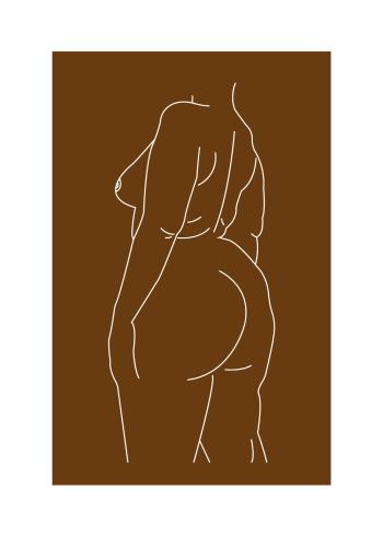 Body positivity plakat i online af kvinde kroppen i brun