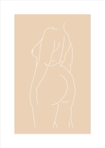Body positivity plakat i online af kvinde kroppen i beige