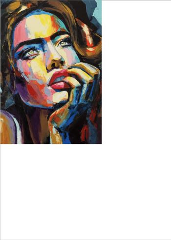 kunstplakater kvinde maleri malet groft med mange farver