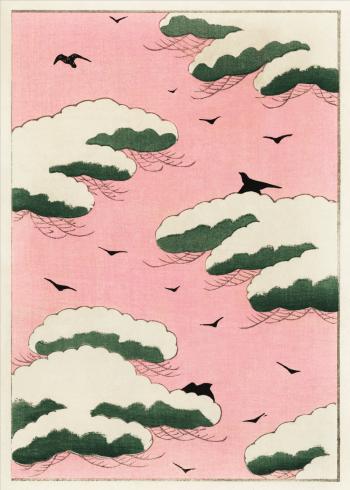 japansk kunst i lyserøde farver