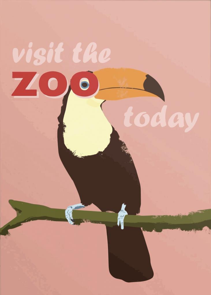zoo plakater med tukan i lyserøde farver