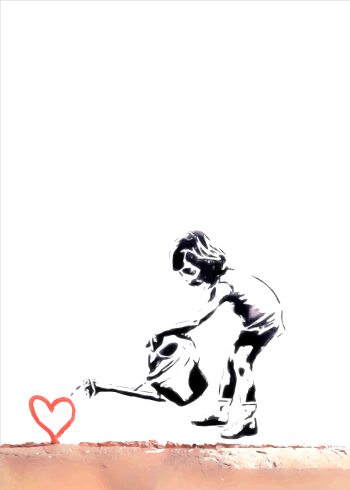 child watering a heart banksy