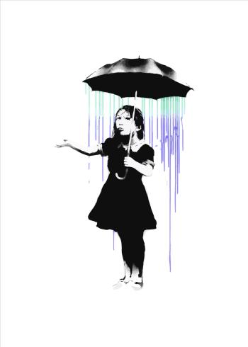 umbrella girl banksy plakat