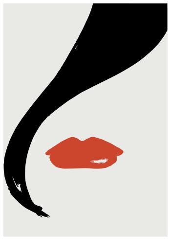 kunstplakat maleri af kvindemund og hårkrølle