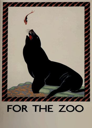 zoo plakater med søløve der spiser fisk