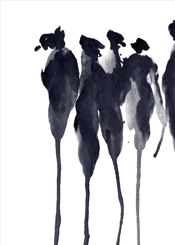 kunstplakater med sorte malede silhuetter i sort watercolor