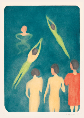 japanske kunstplakater med mennesker der svømmer