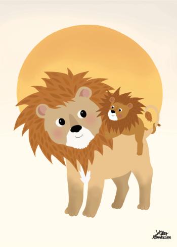 børneillustration af løverne på savannen
