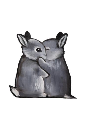 kunstplakater med små kaniner der krammer