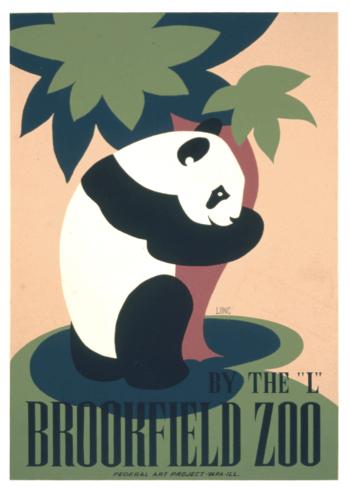 retro zoo plakat med panda