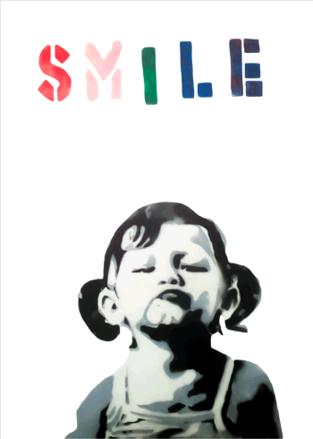 smile girl banksy plakat