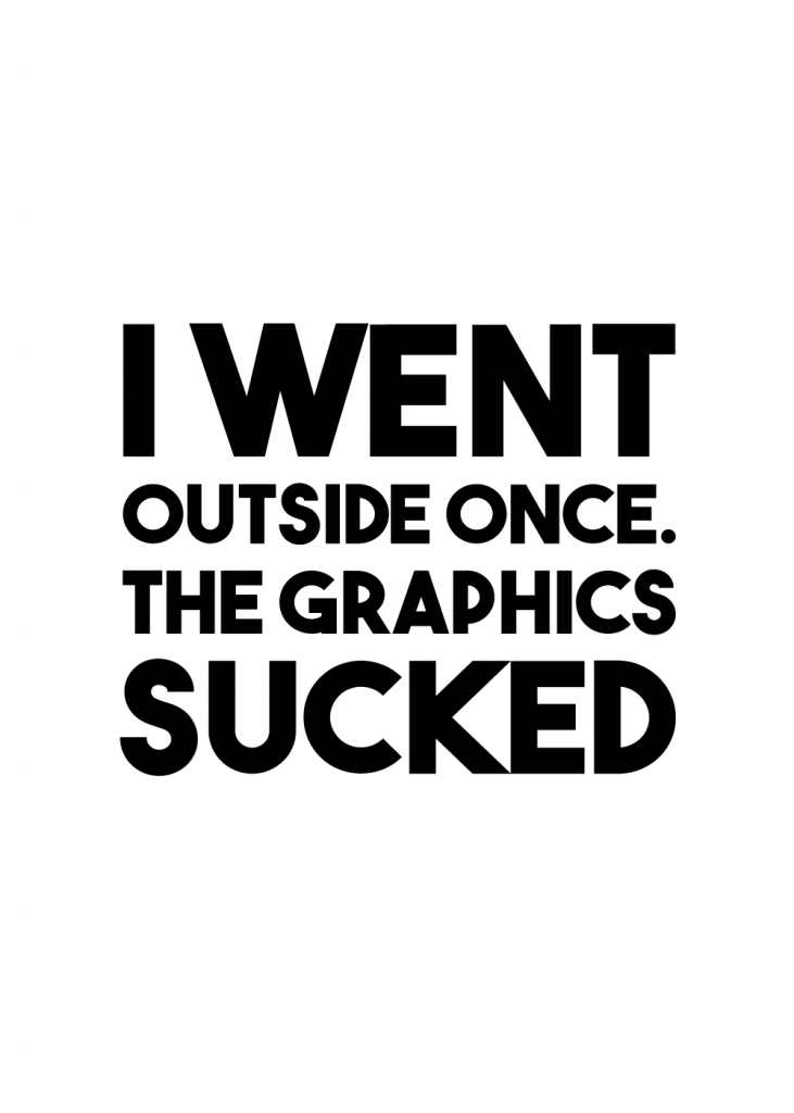 gamerplakater - i went outside once. the graphics sucked