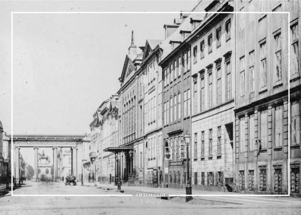 plakat med gammelt billede fra Amaliegade i København