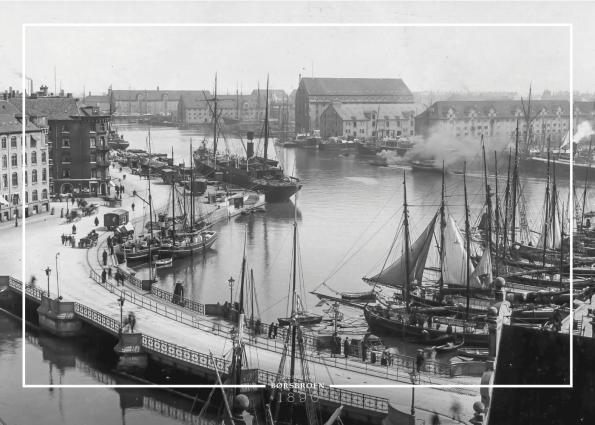 Plakat med gammelt billede af Børsbroen og Børskanalen i København