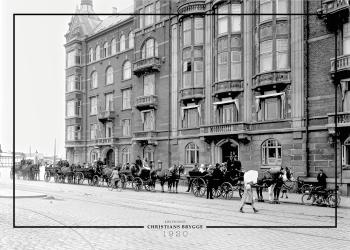 Plakat med gammelt billede af Christians Brygge i københavn
