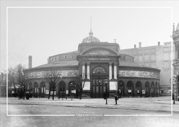 Plakat med gammelt billede af Cirkusbygningen i københavn
