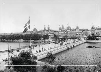 Gammelt billede af Dronning Louises bro Koebenhavn som plakat