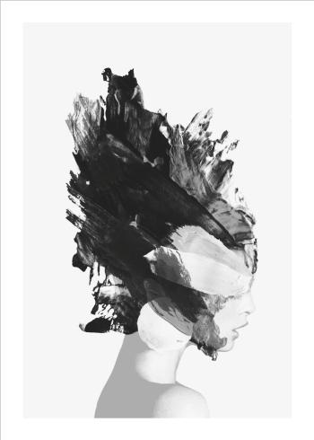 kunstplakat af kvinde med maling i hovedet