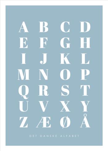 abc plakater med det danske alfabet i blå