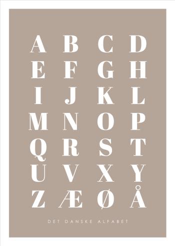 abc plakater med det danske alfabet i brun