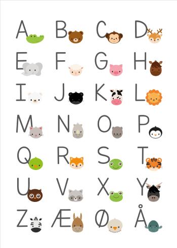 abc plakater til børn med det danske alfabet