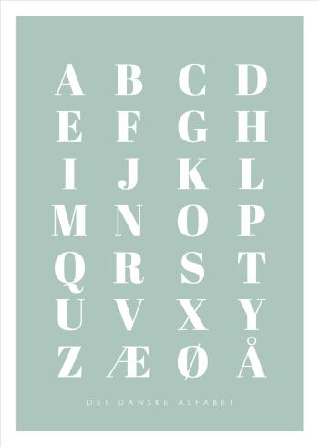 abc plakater med det danske alfabet i grøn