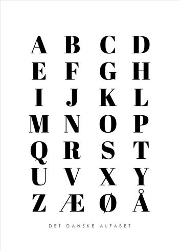 abc plakater med det danske alfabet i hvid