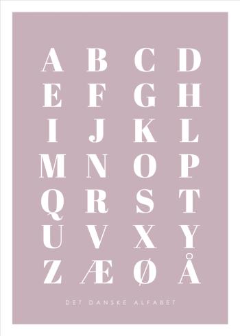 abc plakater med det danske alfabet i lyserød