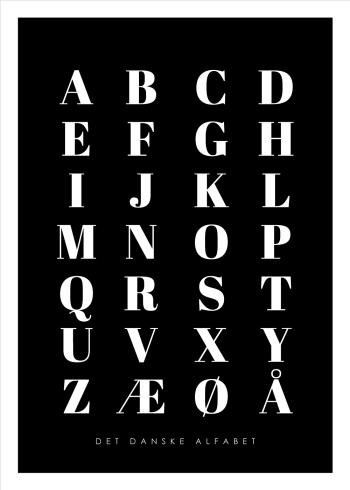 abc plakater med det danske alfabet i sort