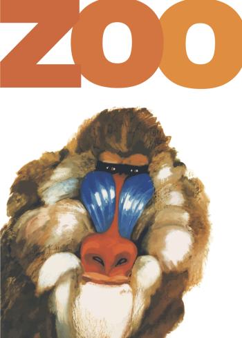 zoo plakat med en bavian