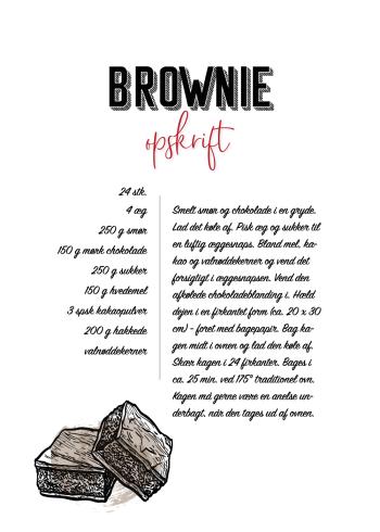 mad plakater med opskrift på brownie