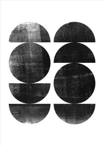 grafiske plakater i sort hvid med organiske former