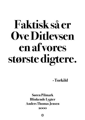 'Blinkende Lygter' citat plakat: Faktisk så er Ove Ditlevsen en af vores største digtere.