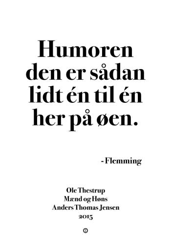 'Mænd og Høns' plakat: Humoren den er sådan lidt én til én her på øen.