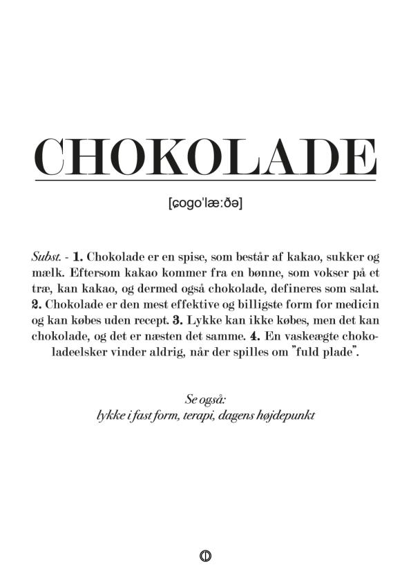 Plakat med definition af chokolade. Perfekt gave