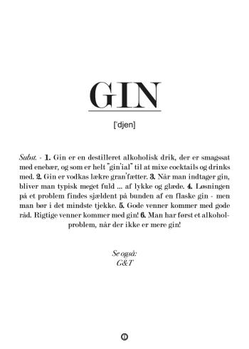 Plakat med definition af gin. Sjov gave med gin