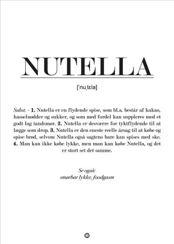 Sjov plakat med definition af nutella