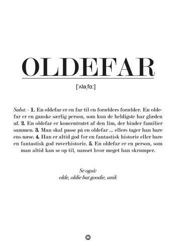 Sjov plakat med definition af oldefar. Personlig gave til oldefar