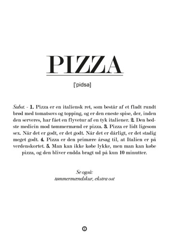 Plakat med definition af pizza
